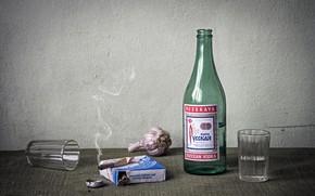 Picture vodka, nostalgia, cigarette