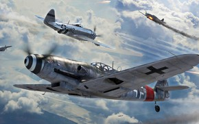Picture Fighter, Thunderbolt, USAF, Bf-109, Air force, Bf.109G-10, P-47D
