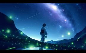 Picture water, girl, night, nature, fireflies, the milky way, yukata