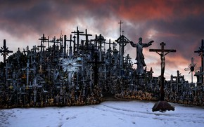 Wallpaper Lithuania, Hill of Crosses, Siauliai, cross mountain