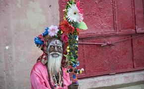 Picture India, Varanasi, religious ascetic, mendicant, Sadhu