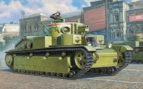 Picture tank, USSR, The red army, Average, T-28, Armored forces, three-turret