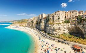 Picture beach, sea, tourism, cliff, vehicles