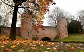 Picture The city, Autumn, Leaves, Castle, Channel, Tower