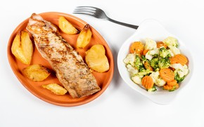 Picture photo, Vegetables, Plate, Food, Potatoes, Meat products, Salads