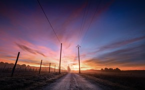 Picture road, night, power lines