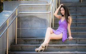 Picture ladder, steps, legs, Asian, dress