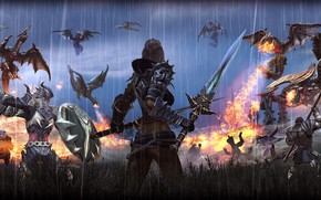 Picture background, fire, the game, dragons, fantasy, battle, Tera