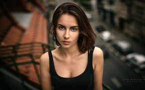 Picture look, model, portrait, makeup, Mike, hairstyle, brown hair, beauty, in black, bokeh, Adam Wawrzyniak