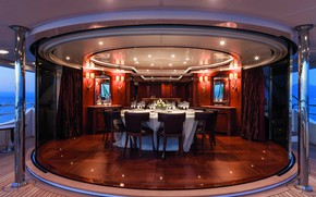 Picture interior, yacht, salon, dining room, superyacht, luxury yacht, checkmate, upper saloon