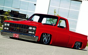 Picture Red, Pickup, Custom, C10, Modified