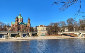Picture trees, the city, river, building, home, Germany, Munich, Church, temple, bridges, ISAR