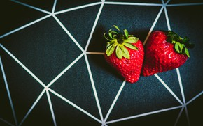 Picture berries, the dark background, strawberry, geometric lines
