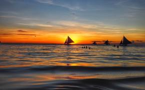 Picture sea, wave, beach, summer, the sky, sunset, shore, sailboat, yacht, summer, beach, sky, sea, sunset, …