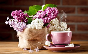 Picture coffee, bouquet, Cup, lilac