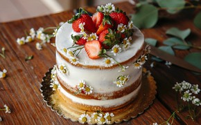 Picture leaves, flowers, table, food, chamomile, strawberry, cake, fruit, dessert, sweet