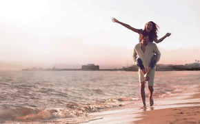Picture sea, beach, girl, joy, shore, laughter, guy