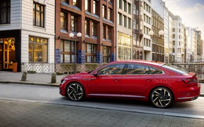 Picture red, the city, Volkswagen, R-Line, liftback, 2020, Arteon