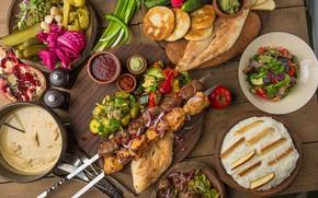 Picture vegetables, sauce, kebab, salad, cuts, khachapuri