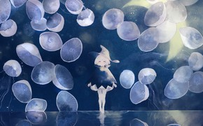 Picture water, night, fantasy, jellyfish, girl, witch