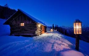 Picture winter, snow, night, lantern, light, house, landscape, night, winter, snow