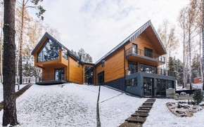 Picture winter, snow, house, Windows, house, forest, architecture, sky, modern, winter, snow, tree, window, modern, architecture