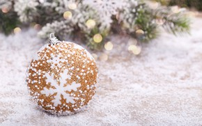 Picture snow, tree, ball, New Year, Christmas, golden, Christmas, snow, New Year, ball, decoration, Happy, Merry, …