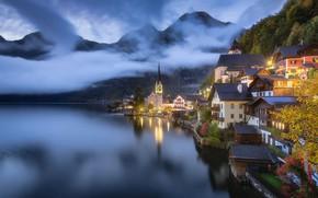 Picture clouds, landscape, mountains, lake, tower, home, the evening, Austria, lighting, town, twilight, Hallstatt, Hallstatt, community