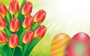 Picture the sun, flowers, spring, Easter, tulips, bright holiday