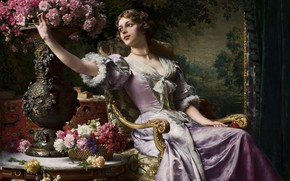 Picture picture, painting, painting, Lady in a lilac dress with flowers, Wladyslaw Czachorski, c1880s