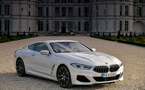 Picture white, coupe, BMW, 2018, 8-Series, Eight, G15, 840d xDrive M Sport, in front of the …