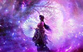 Picture girl, night, the moon, Sakura