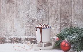 Picture winter, snow, new year, christmas, decor, hot chocolate, decorations, marshmallows, Valeria Maksakova