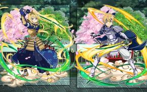 Picture girl, collage, armor, guy, swords, characters, katana, samurai, Sword art online, Sword Art Online