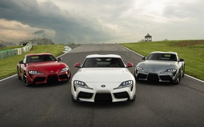 Picture white, red, grey, coupe, track, Toyota, Supra, the fifth generation, mk5, double, 2020, 2019, GR …
