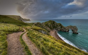 Picture sea, shore, England, West Lulworth, Purbeck District