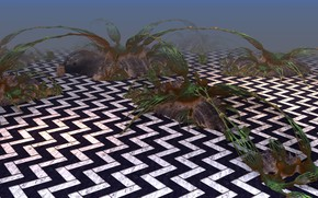 Picture fog, pattern, plants, bushes, 3D graphics, sagsaga