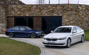 Picture white, the building, BMW, Parking, hybrid, 5, dark blue, 2017, 5-series, G30, sedans, M550i xDrive, …