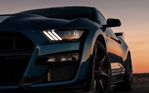 Picture sunset, blue, Mustang, Ford, Shelby, GT500, 2019