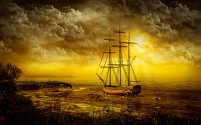 Picture sea, the sky, clouds, light, landscape, sunset, flowers, clouds, nature, rendering, shore, ship, the evening, …