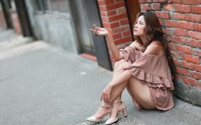 Picture girl, Asian, sitting, cutie, bokeh, beautiful legs