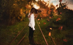 Picture pose, nature, the wind, hair, bokeh, leaves, girl, railroad, autumn