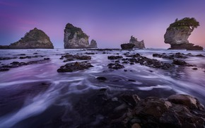 Picture sea, purple, the sky, landscape, nature, stones, rocks, lilac, shore, the evening, New Zealand, surf, …