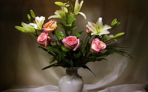 Picture flowers, Lily, roses, vase, curtain, tulle