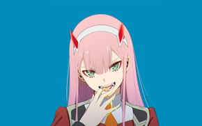 Picture look, girl, hand, honey, 002, Darling In The Frankxx, Cute in France, Zero Two