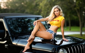 Picture machine, auto, girl, pose, feet, blonde, on the hood, Christopher Rankin
