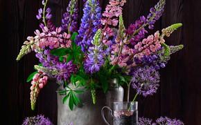 Picture bouquet, Cup holder, lupins, Наталья Казанцева