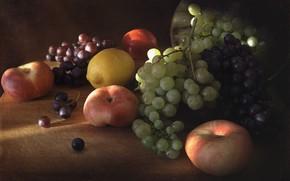 Picture lemon, grapes, fruit, still life, peaches, bunches