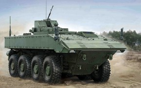 "Picture armored combat vehicle, Boomerang, middle weight category, Unified combat platform codenamed ""boomerang"", wheeled platform, promising …"