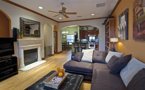 Picture interior, kitchen, fireplace, Boston, living room, dining room